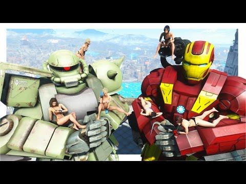 Fallout 4 Mod Review 109 - GUNDAM MOD VS. WAR MACHINE & IRON MAN MOD - Boobpocalypse