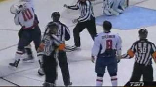 Alex Ovechkin and Steve Downie drop gloves to fight and Matt Bradley backs him up(High Quality)
