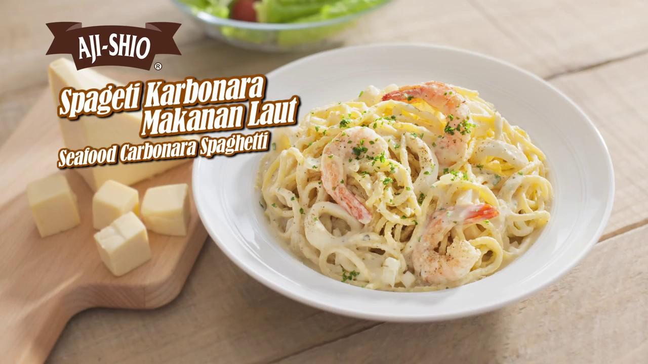 Tasty Treat Seafood Carbonara Spaghetti Spageti Karbonara Makanan
