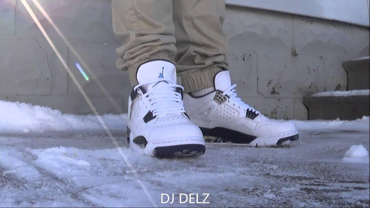 e784291b124b Air Jordan 4 Legend Blue Columbia IV Sneaker On Feet + Sizing - YouTube