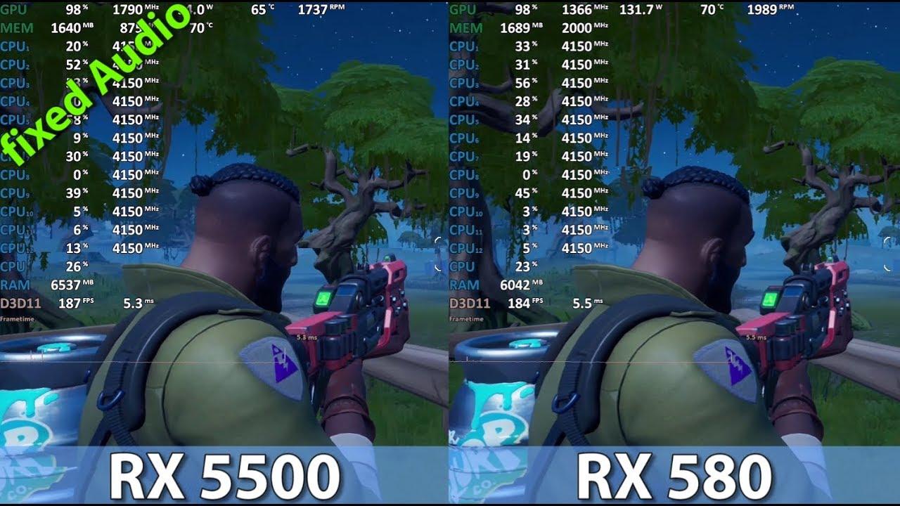Radeon RX 580 vs Radeon RX 5500 (Ryzen 5 3600) Comparison