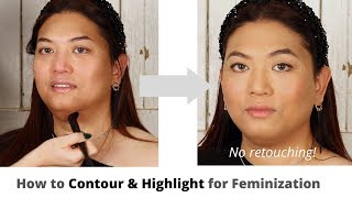 How to Feminize Your Face with Contour & Highlight | Trans & NB