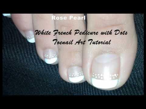 Easy Diy French Pedicure Toe Nail Art Tutorial For Beginners  Rose Pearl