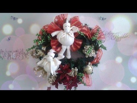 Como hacer una corona de navidad con mu ecos youtube - Como hacer coronas de navidad ...