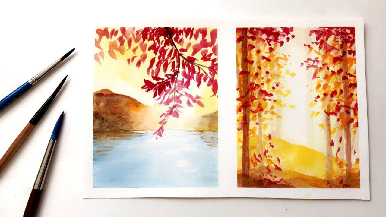 How To Paint Simple Fall Autumn Inspired Watercolor Ideas Watercolor Painting Youtube