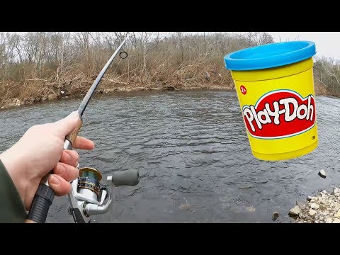 Trout Fishing Challenge - Fishing For Trout With $1.00 Play Dough!