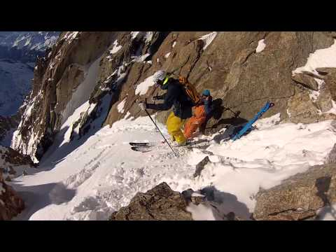 Skiing a Steep Line in Chamonix