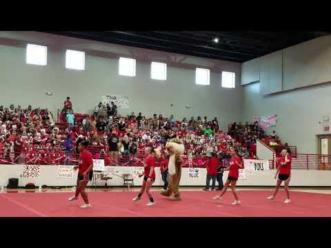 Kirbyville High School JV cheerleaders and Wiley the Wildcat
