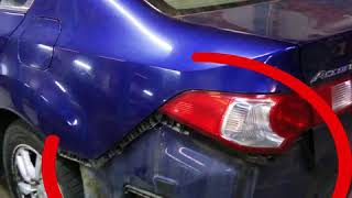 Кузовной ремонт и ремонт задней подвески Хонда Цивик после сильного удара в заднюю подвеску и заднюю