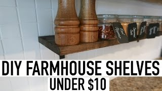 DIY FARMHOUSE SHELVES UNDER $10 + PAINTING KITCHEN BACKSPLASH