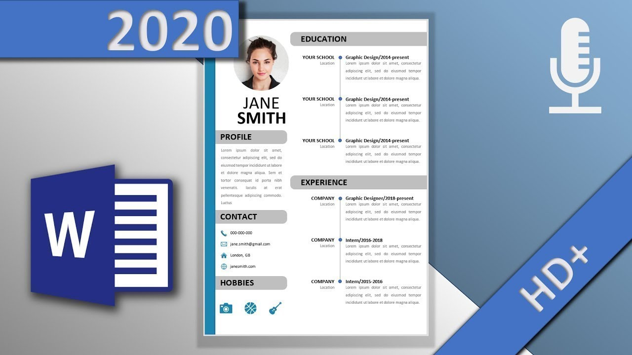 Resume Template In Word Professional Cv Voice Over Hd