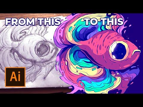 Creating A Rainbow Fish Illustration In Adobe Illustrator - Creative Process Speed Art