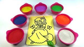NĂM NGÓN TAY NGOAN!Nhạc Thiếu Nhi!Đồ chơi trẻ em TÔ MÀU TRANH CÁT HÌNH CÔNG CHÚA Color Sand Paint