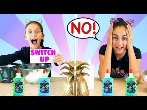 TWIN TELEPATHY Naughty or Nice Slime Switch Up Challenge! Christmas 2019