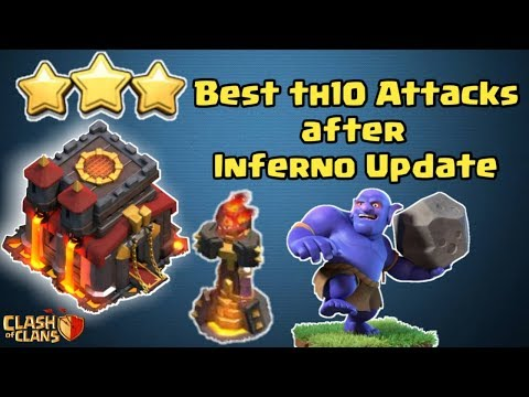Best Th10 Attacks after Inferno Nerf    Th10 3 star attack strategy   Clash of Clans