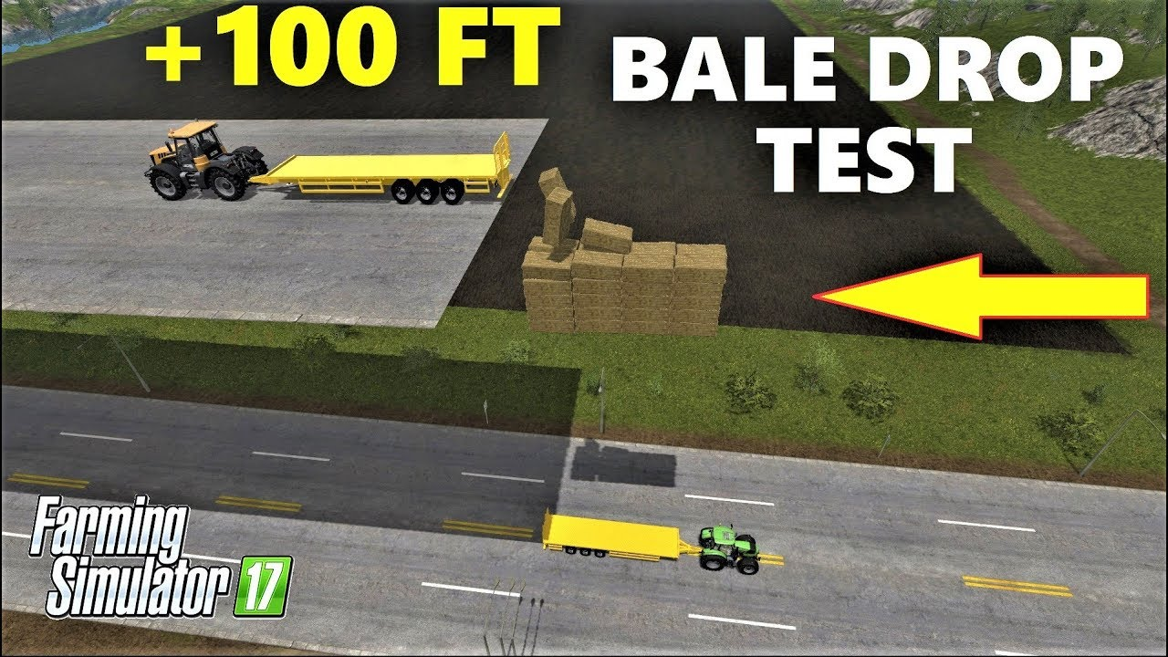 farming simulator 17 100 ft bale drop test bale challenge youtube. Black Bedroom Furniture Sets. Home Design Ideas