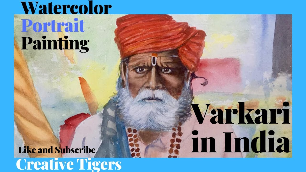 Watercolor Portrait Painting of a Old Varkari