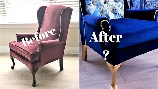 NO SEW OLD CHAIR TRANSFORMATION DIY. HOW TO ACHIEVE A HIGH END LOOK FOR LESS!