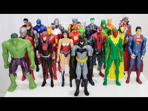 Coleção Completa Bonecos Heróis Marvel Avengers e DC Comics Liga da Justiça