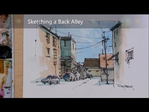Line and Wash Watercolor Alley with Cars. Demonstration of my Urbansketch Style. Peter Sheeler