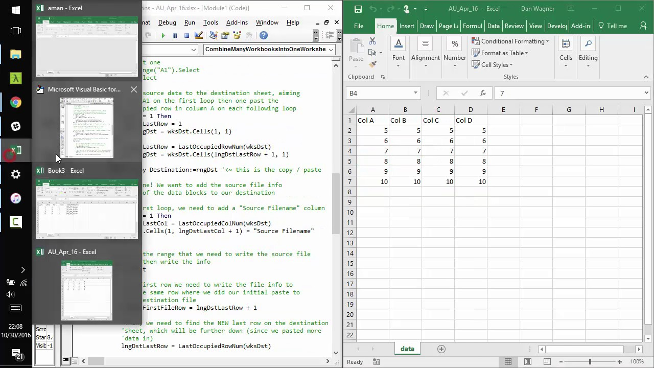 How to Combine Multiple Excel Workbooks into One Worksheet with VBA