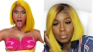 Yellow Hair Bob ft. Nobel Hair 613 Lace Front Wig - Nicki Minaj Barbie Tingz Inspired
