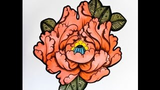 How to draw a Flower Japanese Tattoo Style! by thebrokenpuppet