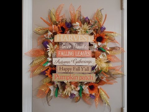Dollar Tree DIY Fall Wreath Using Picture Frame