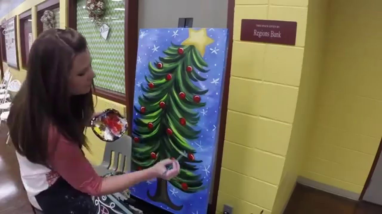 Paint With Lane Christmas Tree painting on canvas Painting by Lane ...