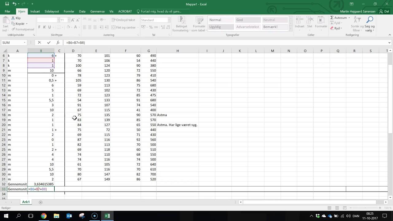 Excel beregn middel værdi (gennemsnit) på et data sæt 2017
