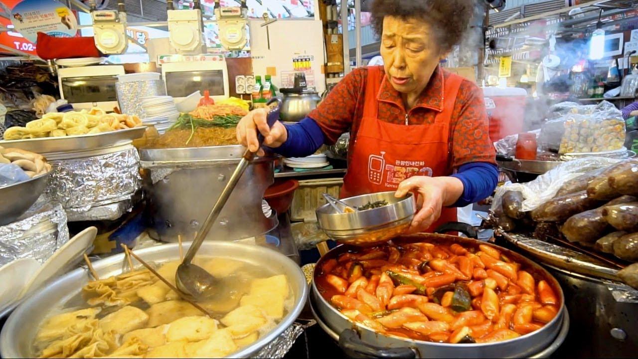 KOREAN STREET FOOD - Gwangjang Market Street Food PART 2  SPICY Korean Food in Seoul South