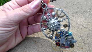 Celestial Time - Genuine kyanite, rough diamond, sun, moon, & stars pewter steampunk pendant