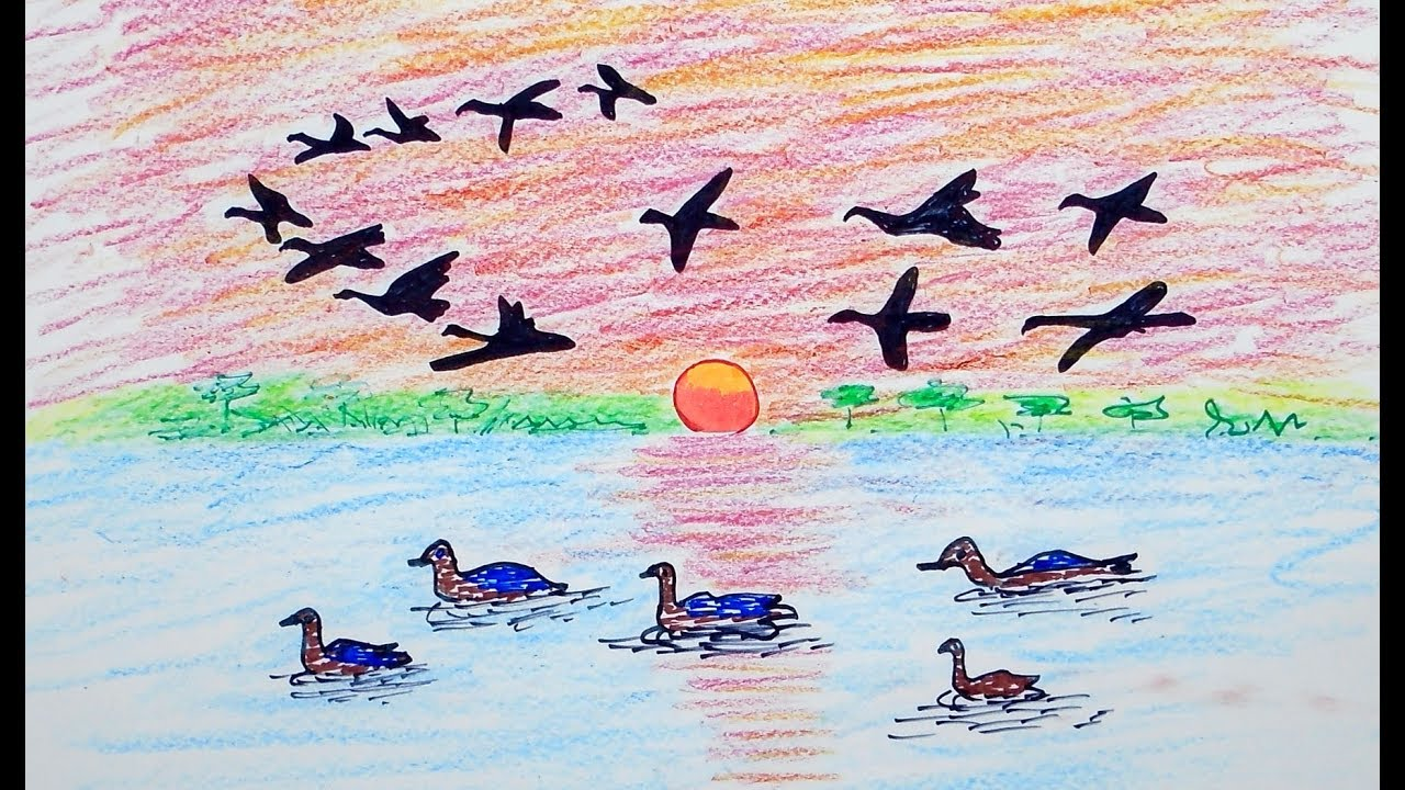 How to draw scenery of birds flying for beginners draw for kids color for children step by step