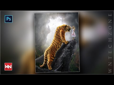 Photoshop manipulation | Big tiger friendship with little girl | into the jungle