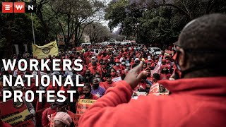 Workers affiliated with Cosatu, Saftu, Fedusa and other trade unions united in protests across South Africa on 7 October 2020.