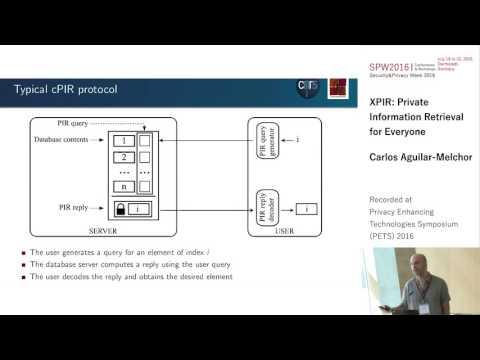 Carlos Aguilar Melchor - XPIR : Private Information Retrieval for Everyone