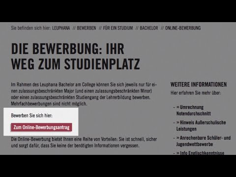 online application at leuphana university - Studium Bewerbung