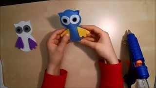 毡 How to make owl with felt (Keçeden baykuş yapımı)