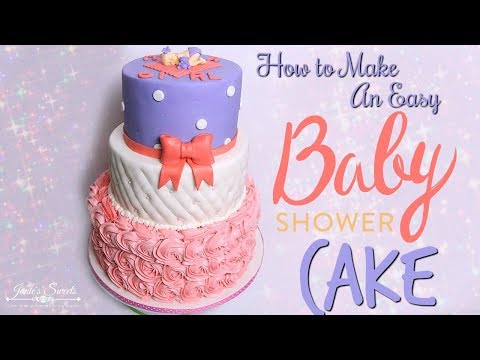 PINK AND PURPLE BABY SHOWER CAKE || Janie's Sweets