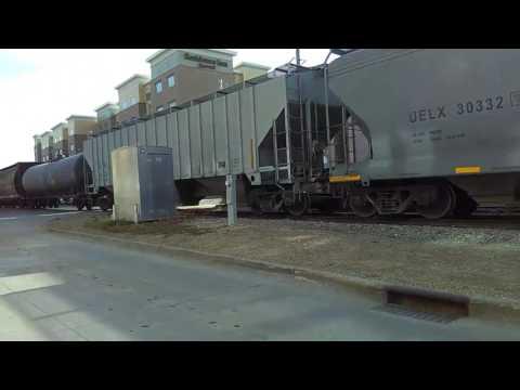 Trains in Downtown Des Moines Iowa
