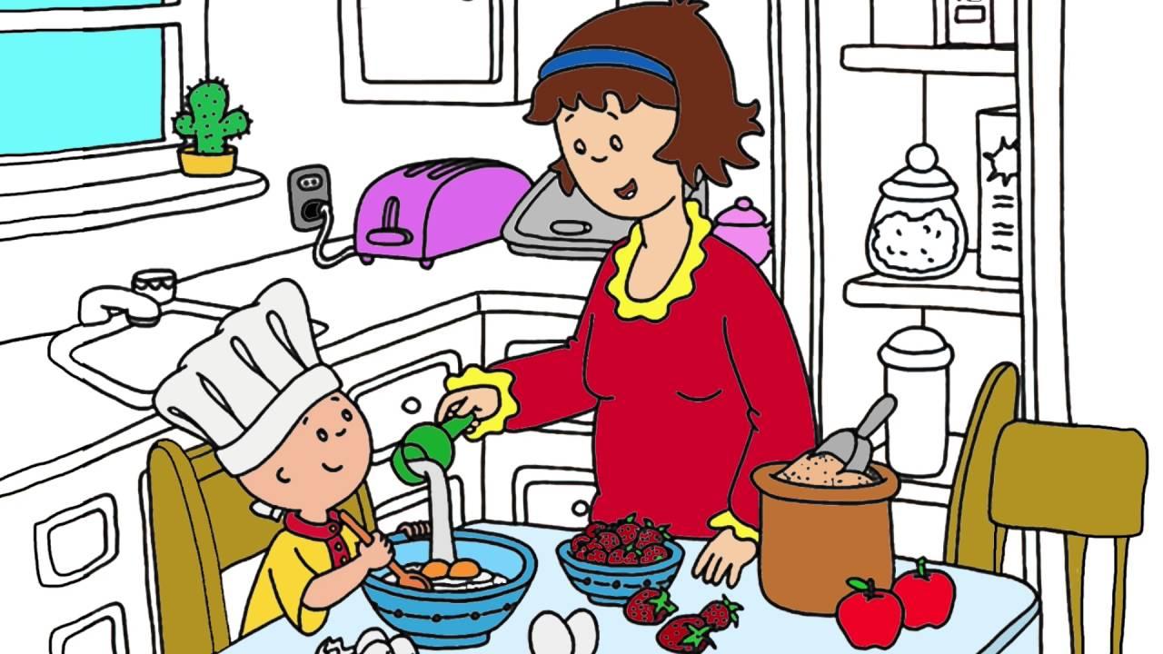 Caillou | Parte 1 | Pintando Caillou en la cocina | Juego de Pintar ...