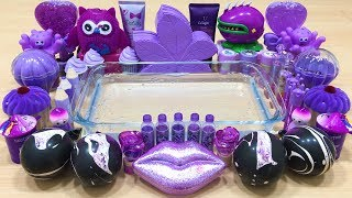 Special Series PURPLE Satisfying Slime Videos #22 | Mixing Random Things into Clear Slime