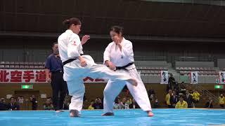 2017年11月5日、第34回東北空手道選手権大会で行われた砂川久美子支部長...