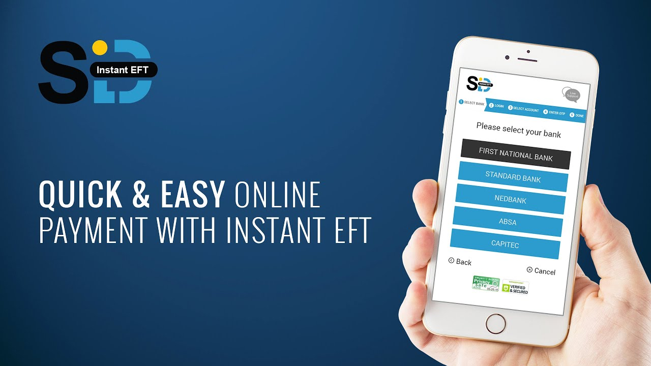 Sid Secure EFT on your website with a single PayGate