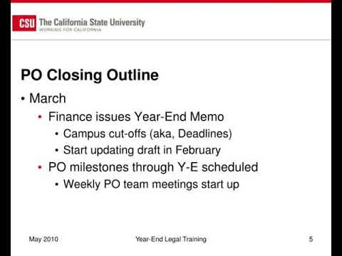 cal poly procurement activities for year end closing