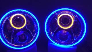 hidprojectors com custom jw speaker 8700 evolution 2 headlights with blue halos and amber angel eyes