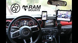 Adding Ram X-Grip to 67 Designs Rail System for an iPad in a Jeep JL