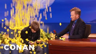 Justin Bieber Gets Pelted By Peeps  - CONAN on TBS