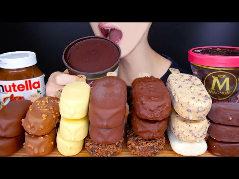 ASMR MAGNUM CHOCOLATE ICE CREAM PARTY MUKBANG 매그넘 초콜릿 아이스크림 먹방 アイスクリーム  Es krim
