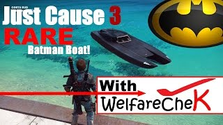 JUST CAUSE 3: How to get the RARE Batman Boat! (Squalo X7 Speedboat)